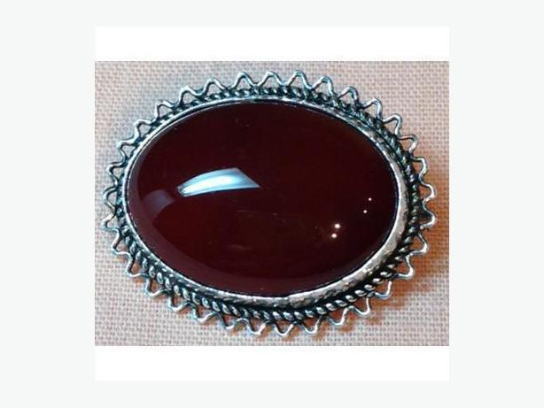 Victorian Carnelian Brooch Set in Sterling