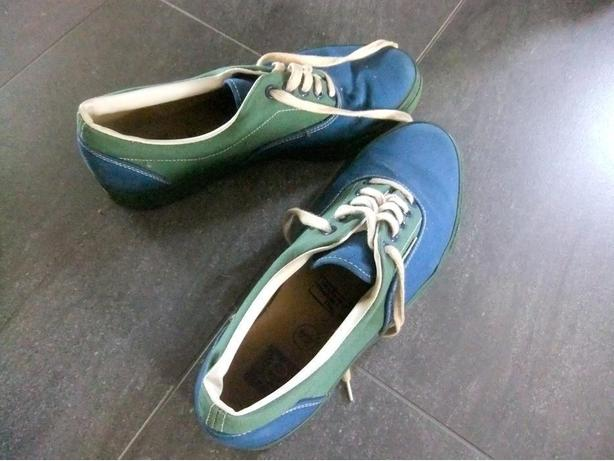 Green and blue running shoes