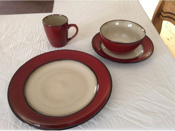 Sabatier Bordeaux Stoneware -Two (16 piece set) available . Sets consit of 4 mugs 4 bowls 4 side plates and 4 large plates. & Diinnerware Central Nanaimo Nanaimo