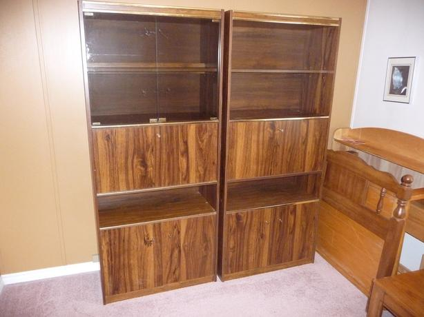 "two matching 72"" high wall unit cabinets"