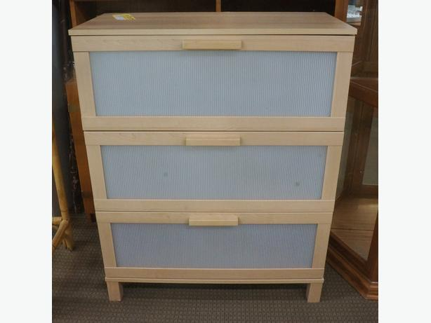 Ikea wooden chest of drawers with white plastic front i