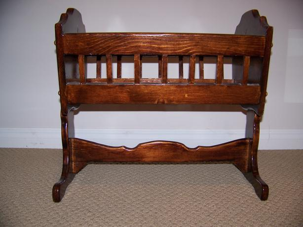 Doll Furniture Wooden Rocking Doll Bear Cradle East
