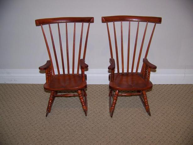 Set of(2) Vintage Doll Rocking Chairs - Wooden