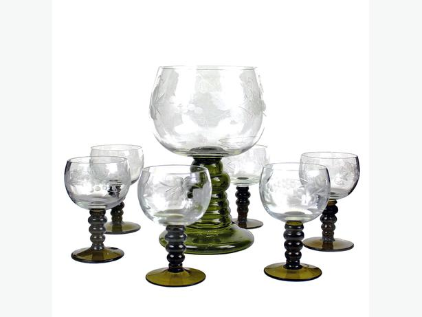 Römer Wine Glass Set - Hand Etched Austrian Crystal - Wine Glasses #4407