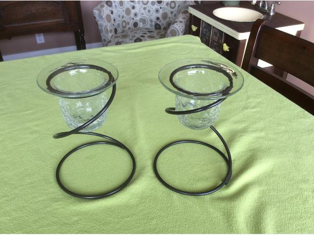 pair of partylite crackled glass votive candle holders