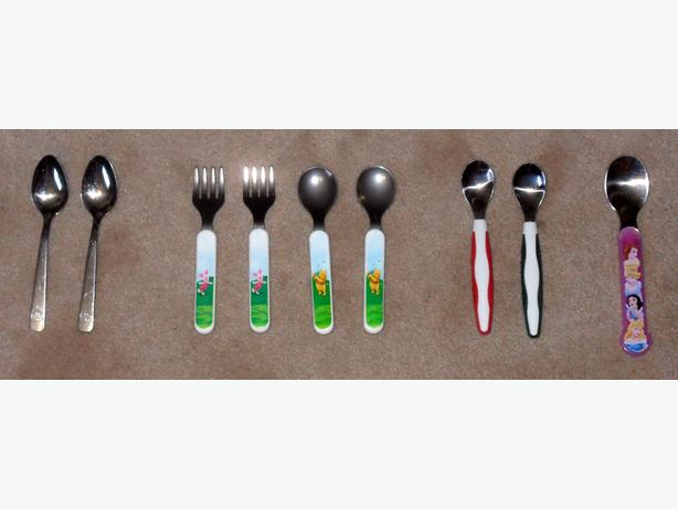 Good Condition Set of 9 Various Metal Baby/Toddler Utensils