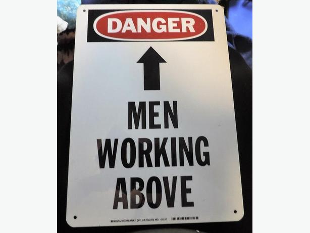 "4x DANGER MEN WORKING ABOVE Metal White Signs, Construction, Outdoors 14""x10"""