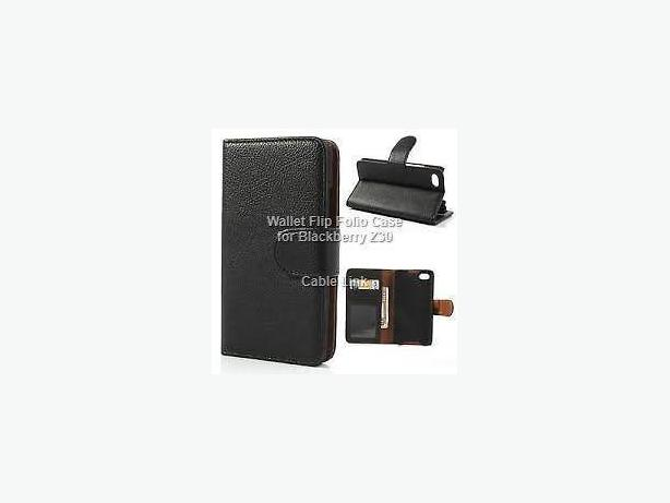 Premium PU Leather Wallet Flip Case for Blackberry Z30