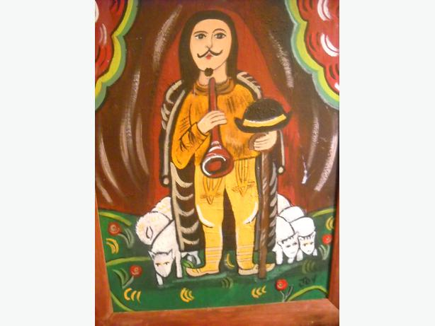 4U2C  FOLK ART PAINTING  MAN WTH FLOCK SIGNED JOY