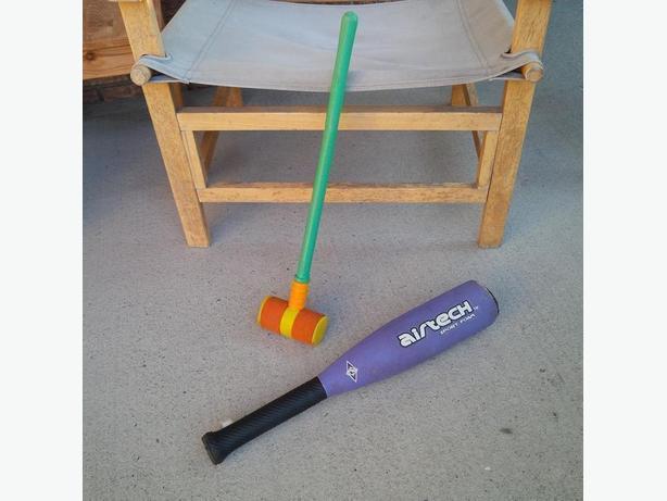 Croquet Mallet and Baseball Bat