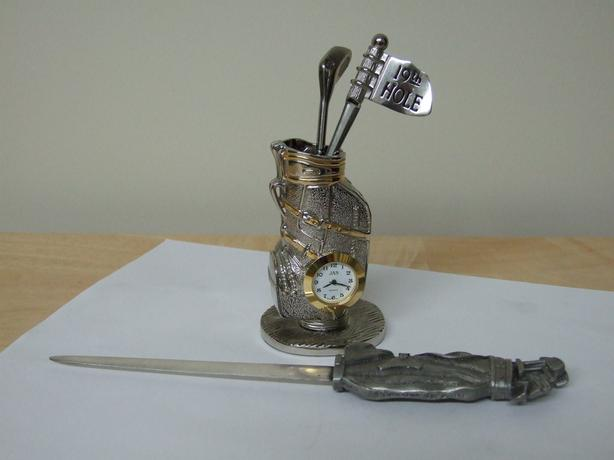 Miniature clock collectable. Golf bag with accessories and letter opener