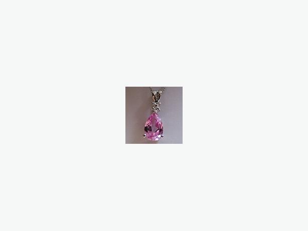 Excellent Price! New 14K Pink Sapphire/Diamond Pendant