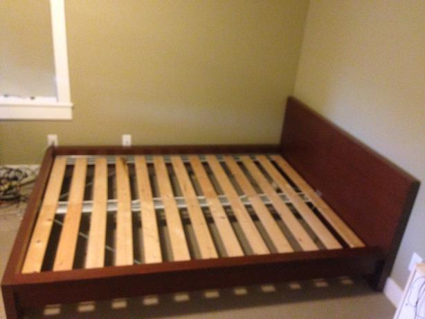 ikea malm bed frame with wooden slats queen sized