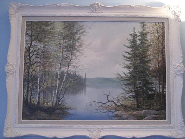 Vintage landscape painting by E Jalara