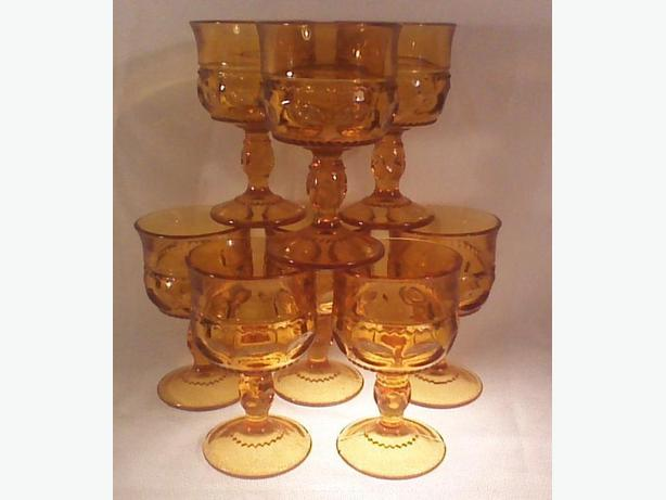 Indiana Glass Thumbprint amber wine glasses