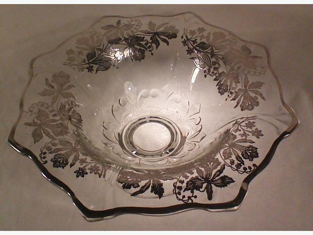 Silver overlay glass pedestal bowl