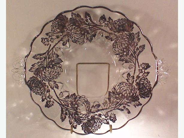 Silver overlay glass plate