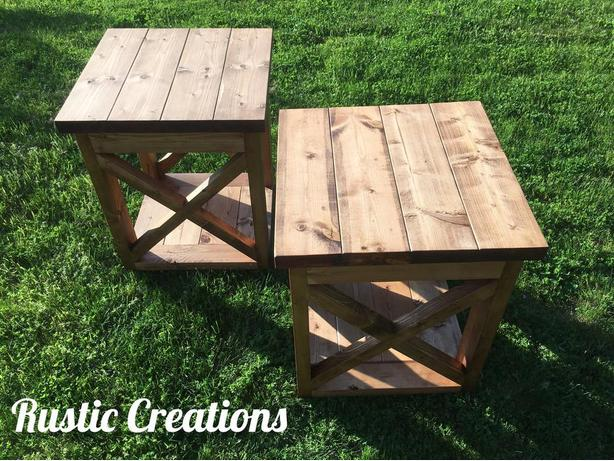 Rustic X-Framed Side Table