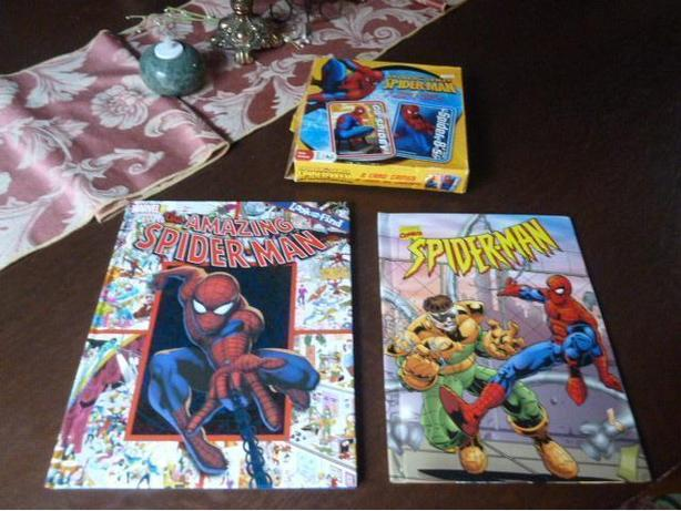 2 Hardcover Spiderman books and 2 Spiderman card games
