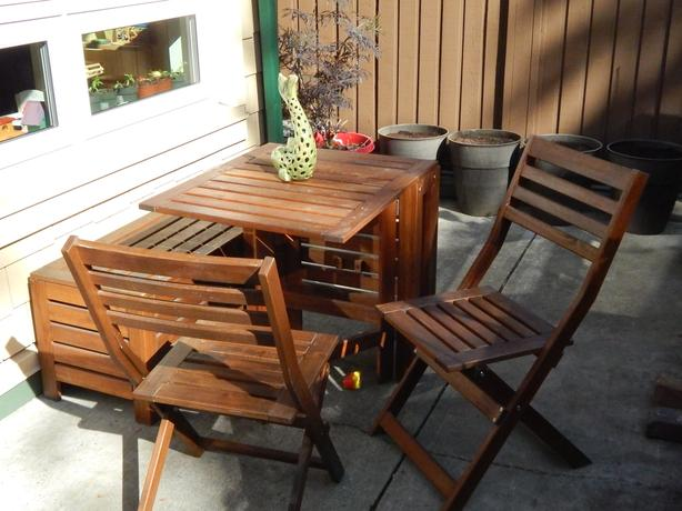 Ikea Applaro Patio Table 2 Chairs And Storage Bench
