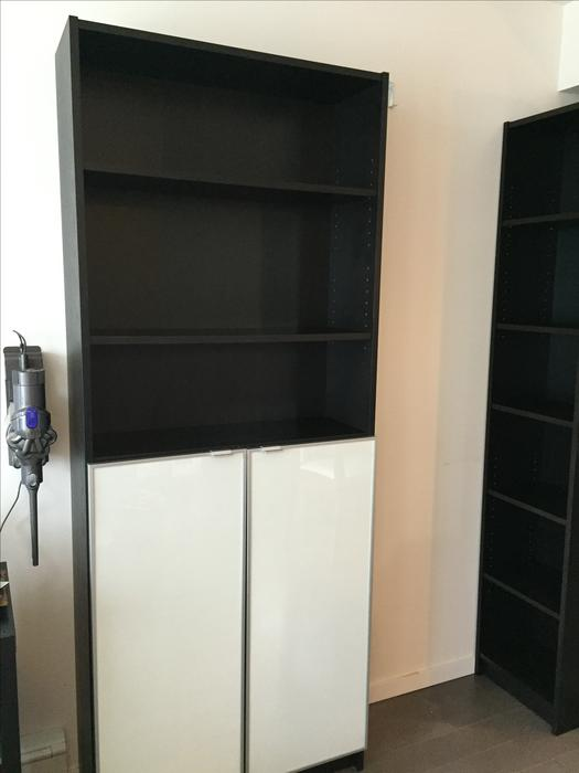 Ikea billy bookcase with 2 morliden glass doors w wood - Mobile billy ikea ...