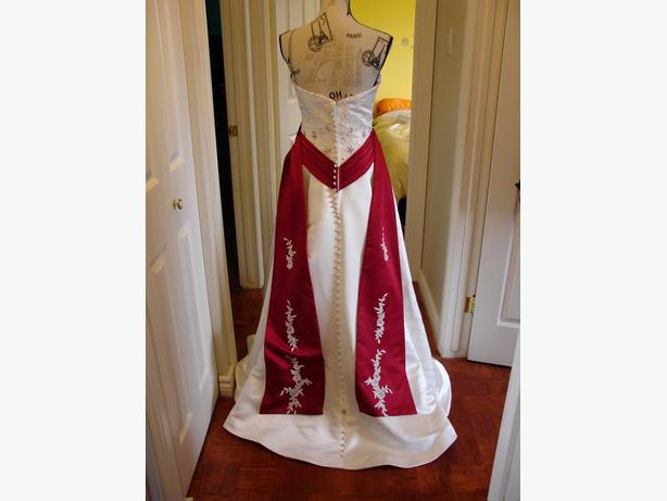 White and Claret Red floor length  wedding dress