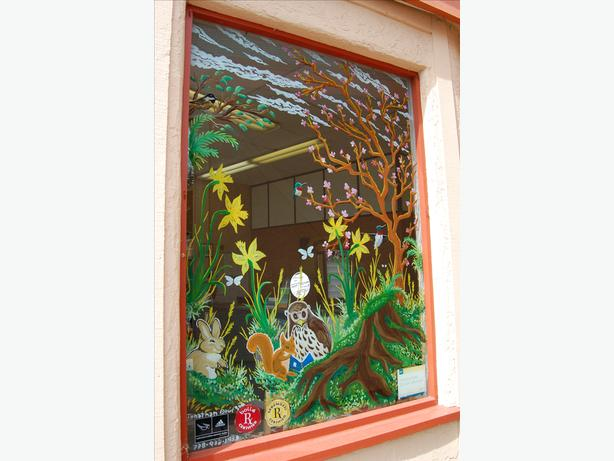 Spring window painting murals commercial and residential for Commercial mural painting