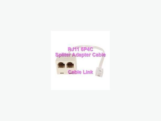 6P4C RJ11 (M) To 2 (F) Telephone Splitter Converter Cable