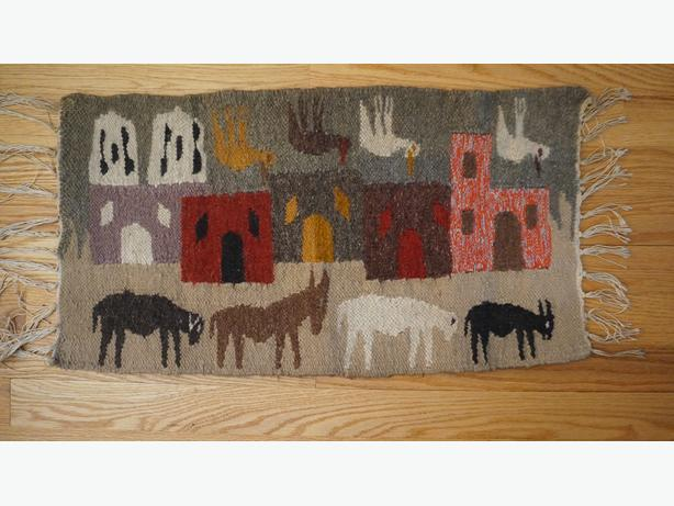 4U2C FOLK ART HAND WOVEN MAT OR WALL HANGING WITH ANIMALS
