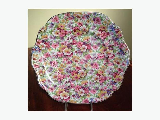 Vintage cake plate by James Kent in the Du Barry pattern