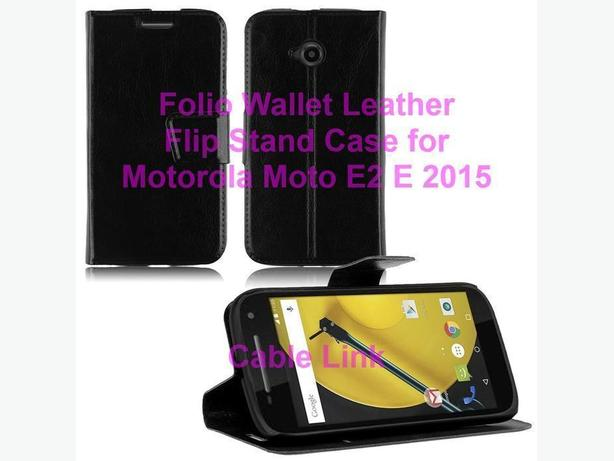 Folio Leather Wallet Flip Stand Case for Motorola Moto E 2nd E2