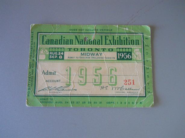 Canadian National Exhibition Midway Ticket - 1956