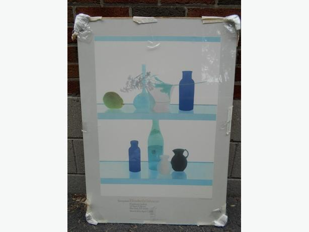 "Vintage Wall Art under glass ""Still Life with Blue Bottles"" by Elizabeth Osborne"