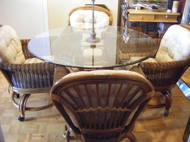 wicker and glass table and chairs