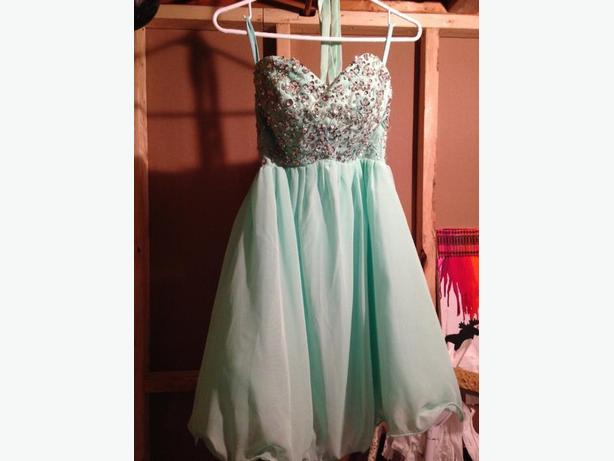 short mint prom dress
