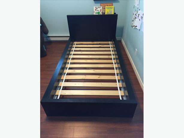 Ikea malm twin bed frame low black brown saanich victoria for Ikea malm bed low