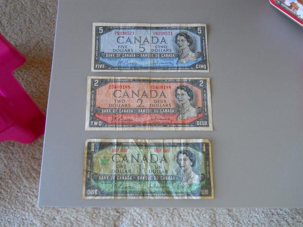Paper Currency $1.00, $2.00 and $5.00