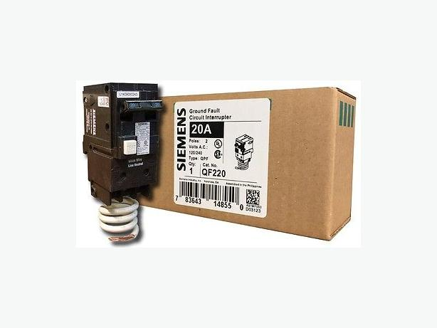 Electrical: Siemens/ITE 2 Pole 20 Amp Ground Fault Interupter Breaker (QF220)