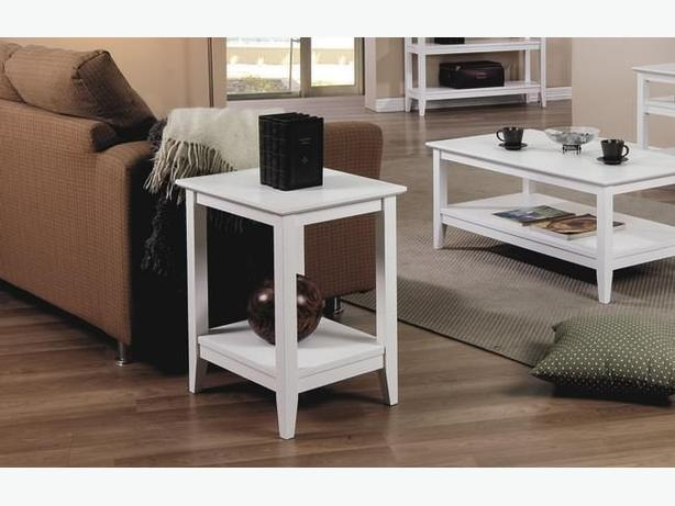 New White Quadra End Table Solid Hardwood
