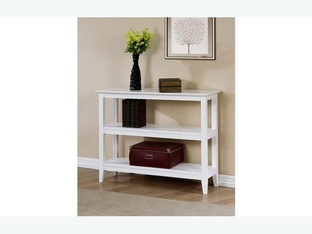 New Quadra White Low Bookshelf