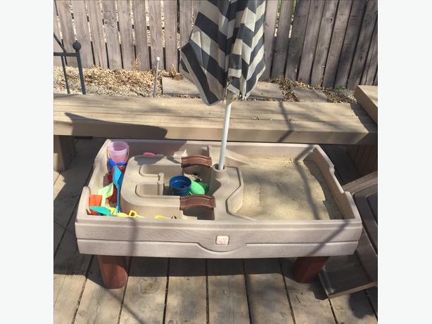 step 2 sand and water table with cover and umbrella west regina regina. Black Bedroom Furniture Sets. Home Design Ideas