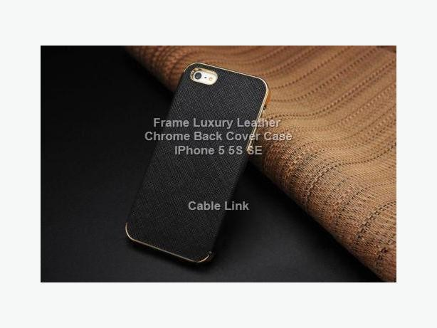 Luxury Leather Frame Chrome Back Case for IPhone 5 5S SE