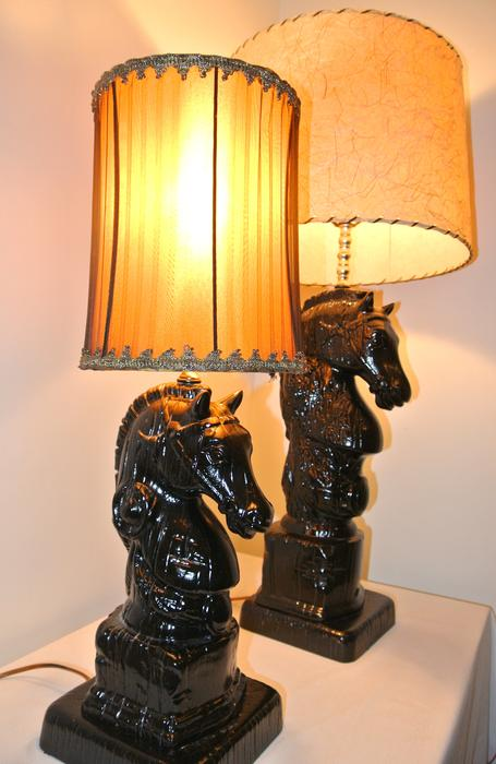2 Vintage and Rare Holland Mold Horse Head Lamps Saanich, Victoria