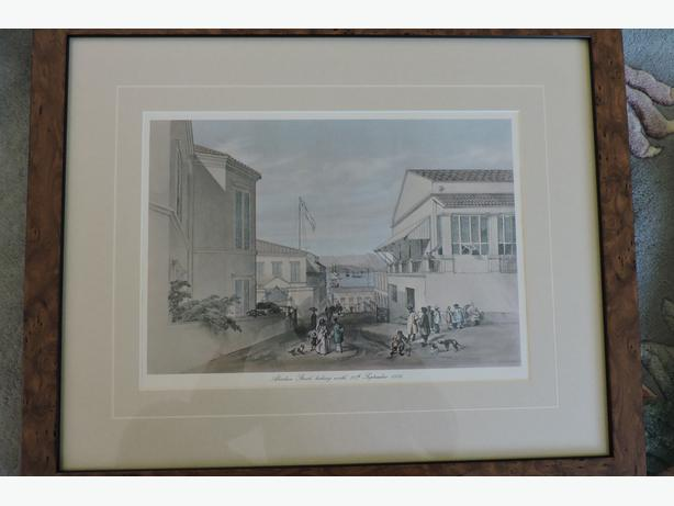 Antique lithographic prints of Hong Kong