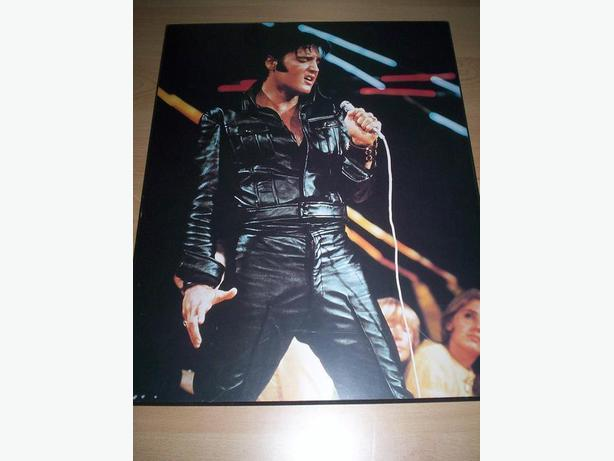 Wood slab with picture of Elvis