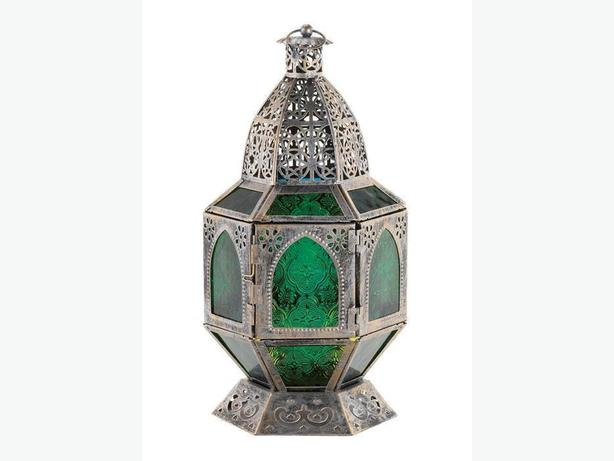 Ornate Green Glass Silver Metal Candleholder Lantern Exotic 3 Lot New