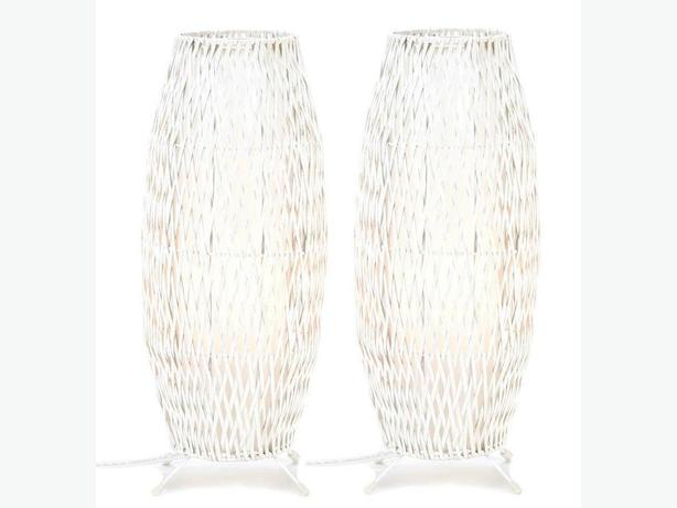 Bamboo & Metal White Woven Table Lamp 19-Inches Tall Set of 2 New
