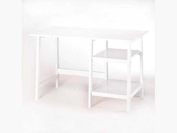 Glossy White Wood Workstation Desk Brand New