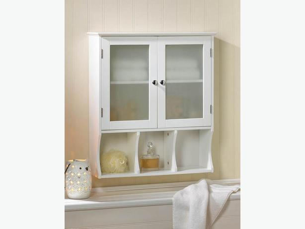 Versatile Bathroom Kitchen White Wall Cabinet Frosted Glass Doors Divided Shelf