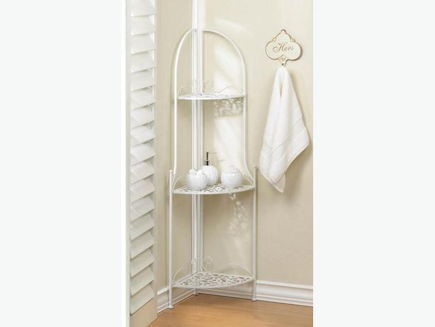 Decorative White Metal Corner Rack Curio Shelf With 3 Shelves New Versatile